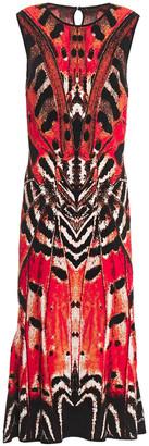 Alexander McQueen Fluted Jacquard-knit Midi Dress