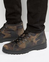 Asos Military Boot In Suede Camouflage