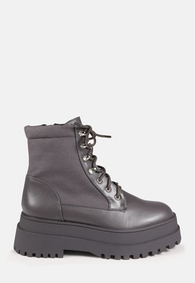 Missguided Grey Canvas Panel Chunky Ankle Boots