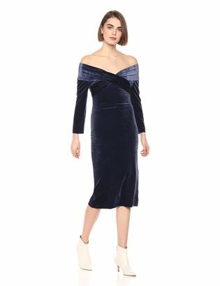 Finders Keepers findersKEEPERS Women's Romana Velvet Fitted MIDI Sheath Dress