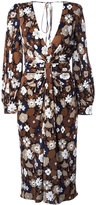 Michael Kors floral print gathered dress - women - Rayon - 2