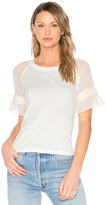 See by Chloe Lace Sleeve Top in White