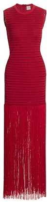 Herve Leger Fringe Crochet Maxi Dress
