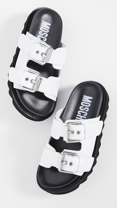 Moschino Slide Double Buckle Sandals