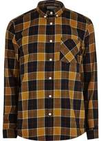 River Island Mens Gold and camel check shirt