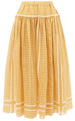 Sara Lanzi Dot-print Voile Midi Skirt - Womens - Yellow