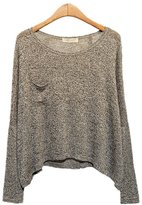ARJOSA Women's Knitted Round Neck Batwing Long Sleeve Pullovers Sweater