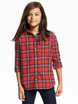 Old Navy Plaid Flannel Boyfriend Shirt for Girls