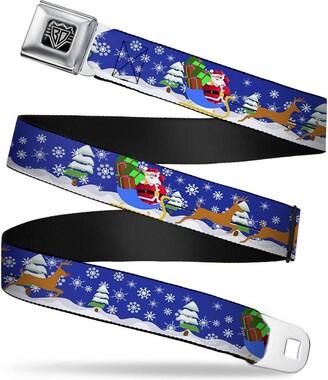 """Buckle Down Buckle-Down Seatbelt Belt - Santa & Reindeers - 1.5"""" Wide - 24-38 Inches in Length"""