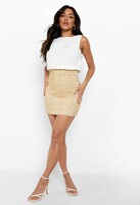 boohoo Delia 2 in 1 Chiffon Top Sequin Skirt Bodycon Dress ivory