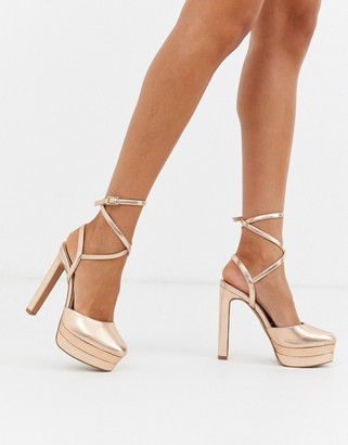 Asos Design DESIGN Purpose platform stiletto heels in rose gold
