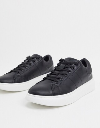 Jack and Jones sneaker with chunky sole in black with white