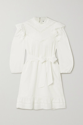 Reformation Dinah Lace-trimmed Ruffled Cotton Mini Dress - Ivory