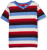 U.S. Polo Assn. Engine Red Heather Stripe V-Neck Tee - Toddler & Boys
