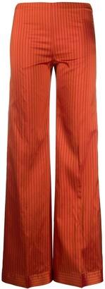 Romeo Gigli Pre Owned Silk Striped Wide-Legged Trousers