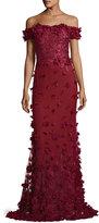 Marchesa Off-the-Shoulder Column Evening Gown w/ 3D Petals