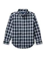 Ralph Lauren Poplin Plaid Button-Down Shirt, White Pattern, Size 5-7