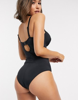 Pour Moi? Pour Moi Fuller Bust Space cage multi way strap underwired swimsuit in black