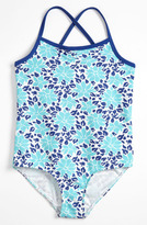 Tucker + Tate One Piece Swimsuit (Little Girls & Big Girls) Aqua/ Stencil 4