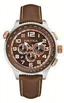 Nautica Men's Watch A25014G With Dial And Leather Strap