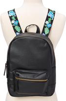 Black Floral-Strap Backpack