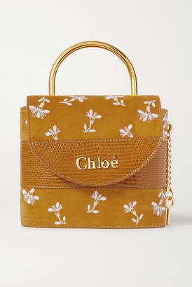 Chloé Aby Lock Small Lizard-effect Leather-trimmed Embroidered Suede Shoulder Bag - Brown