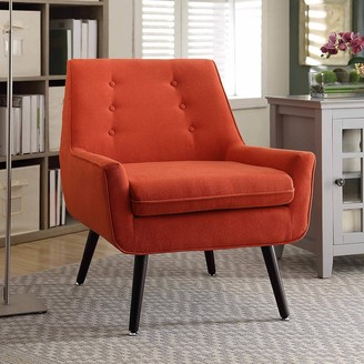 Linon Liz Pimento Mid-Century Button-Tufted Chair