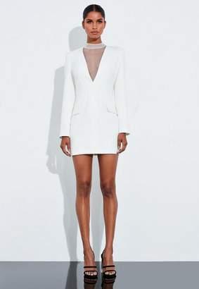 Missguided Cream Plunge Mesh Trim Dress