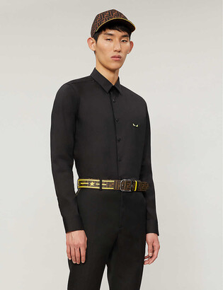 Fendi Logo-embroidered regular-fit stretch-cotton shirt