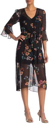Rachel Roy Floral Button Front Midi Dress