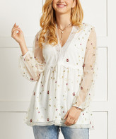 Suzanne Betro Women's Tunics 101IVORY - Ivory Sheer-Sleeve Floral Lace Babydoll Top - Women & Plus