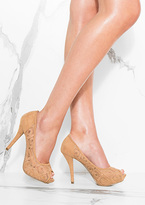 Missy Empire Merida Camel Crochet Detail Open Toe Heels