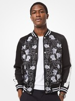 Michael Kors Floral Embroidered Satin Varsity Jacket