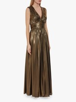 Gina Bacconi Treva Metallic Chiffon Maxi Dress, Gold