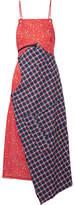 R 13 Asymmetric Paneled Cotton-poplin And Flannel Midi Dress