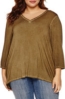 Boutique + + 3/4 Sleeve V Neck T-Shirt-Plus