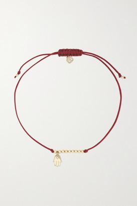 Sydney Evan Hamsa 14-karat Gold, Cord And Diamond Bracelet - Red