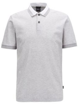 BOSS Slim-fit polo shirt in two-tone honeycomb cotton