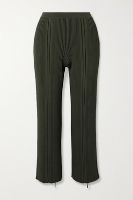 Dion Lee Pinnacle Cropped Ribbed-knit Wide-leg Pants - Army green