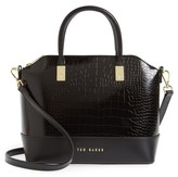 Ted Baker Camilee Croc Embossed Leather Top Handle Tote - Black