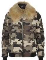 River Island Womens Khaki camo bomber jacket with faux fur trim