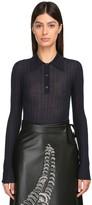Prada Cashmere & Silk Ribbed Knit Polo Top