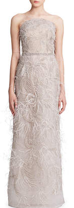 Marchesa Feather-Trimmed Embroidered Tulle Strapless Gown