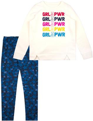 Aeropostale p.s. from Girls' Leggings Ivory - Ivory 'Grl Pwr' Tunic & Blue Star Leggings - Girls
