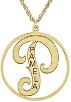 FINE JEWELRY Personalized 25mm Initial and Name Circle Pendant Necklace