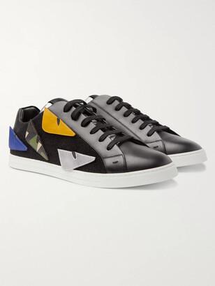 Fendi Appliqued Felt-Trimmed Leather Sneakers