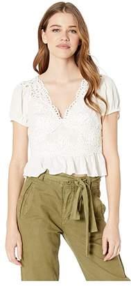 Free People Sweet Roses Blouse (Ivory) Women's T Shirt
