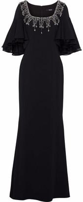 Badgley Mischka Organza-trimmed Embellished Crepe Gown