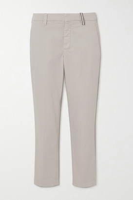 Brunello Cucinelli Bead-embellished Stretch Cotton And Lyocell-blend Twill Slim-leg Pants - Ivory