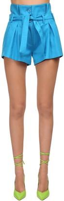 ATTICO High Waist Cotton Twill Shorts